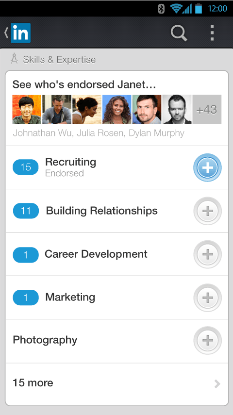 LinkedIn Mobile App Android Endorsements