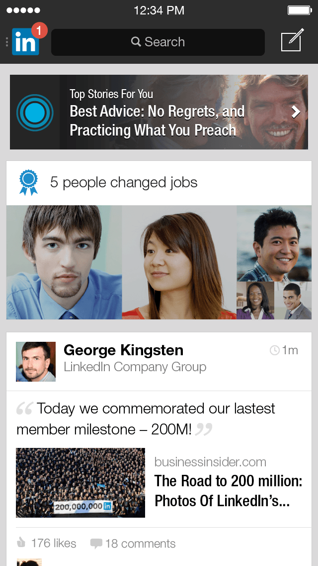 LinkedIn Mobile App iOS Updates Q1 2014